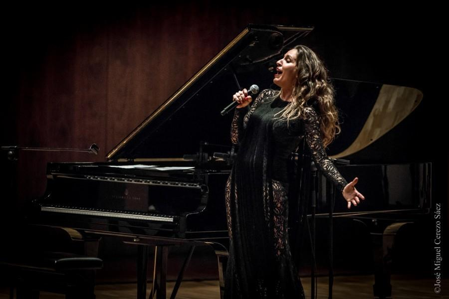 """Maria Toledo, pianist and flamenco singer, performs in the National Auditorium of Music, in his tour """"Tour conSentido"""". Madrid, November 27, 2015."""